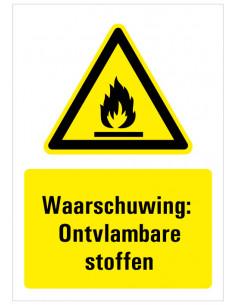 Waarschuwing voor ontvlambare stoffen tekst met bord, zwart geel wit, rechthoek staand