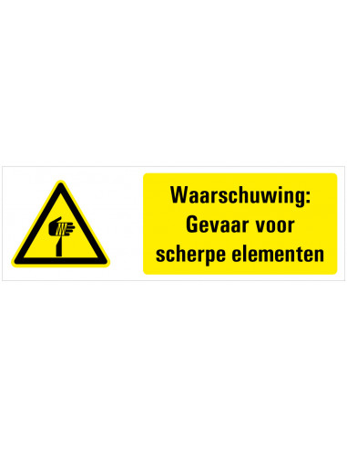 Tekststicker waarschuwing scherpe punten, W022, ISO 7010, geel zwart, rechthoek, scherpe punt symbool