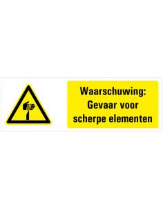 Tekstbord waarschuwing gevaar voor scherpe punten, dibond, W022, ISO 7010, geel zwart, rechthoek, scherpe punt symbool