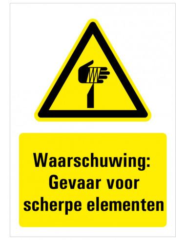 Bord met tekst waarschuwing gevaar voor scherpe punten, kunststof, W022, ISO 7010, geel zwart, scherpe punten symbool