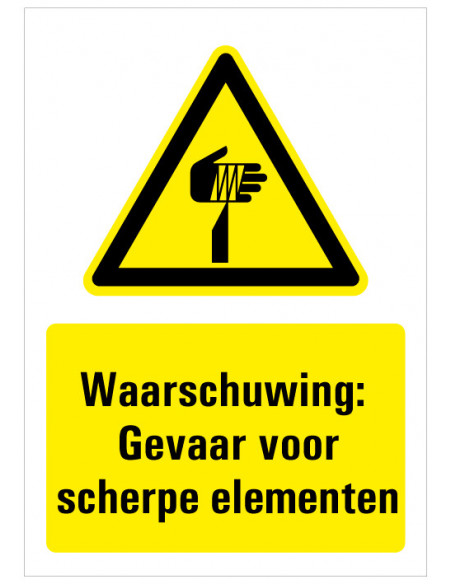 Sticker met tekst waarschuwing gevaar voor scherpe punten, W022, ISO 7010, geel zwart, scherpe punt symbool