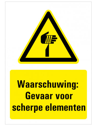Bord met tekst waarschuwing gevaar voor scherpe elementen, dibond, W022, IS0 7010, geel zwart, scherpe punt symbool