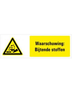 Waarschuwing voor bijtende stoffen tekstbord, zwart geel wit, rechthoek liggend