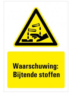 Waarschuwing voor bijtende stoffen bord met tekst, dibond, zwart geel wit, rechthoek staand