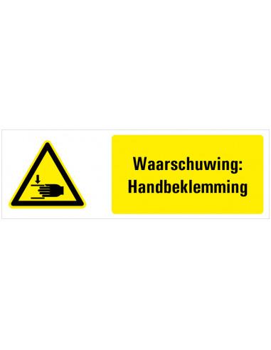 Waarschuwing voor handbeklemming tekstbord, zwart geel wit, rechthoek liggend