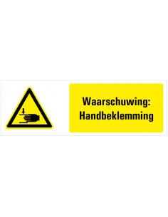 Waarschuwing voor handbeklemming tekststicker, zwart geel wit, rechthoek liggend