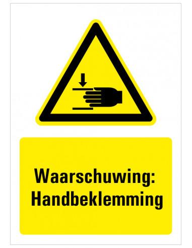 Waarschuwing voor handbeklemming bord met tekst, zwart geel wit, rechthoek staand