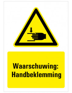 Waarschuwing voor handbeklemming sticker met tekst, zwart geel wit, rechthoek staand