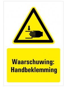 Waarschuwing voor handbeklemming bord met tekst, dibond, zwart geel wit, rechthoek staand