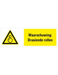 Waarschuwing voor draaiende rollen tekststicker, zwart geel wit, rechthoek liggend
