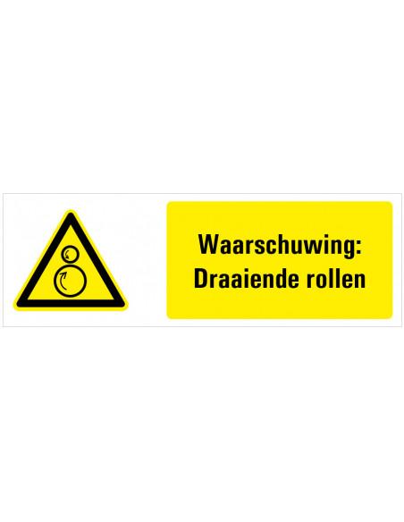 Waarschuwing voor draaiende rollen tekstbord, dibond, zwart geel wit, rechthoek liggend