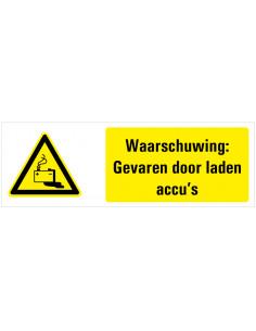 Waarschuwing voor gevaren door laden accu's tekstbord, dibond, zwart geel wit, rechthoek liggend