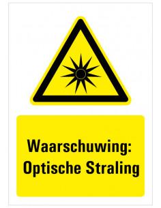 Tekststicker 'Waarschuwing: Optische straling' 148 x 210 mm