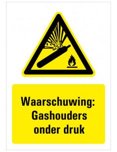 Waarschuwing voor gashouders onder druk bord met tekst, dibond, zwart geel wit, rechthoek staand