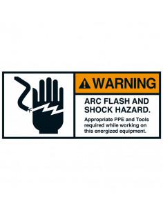 Sticker 'Warning: arc flash and shock hazard' 200/VE, 70 x 160 mm