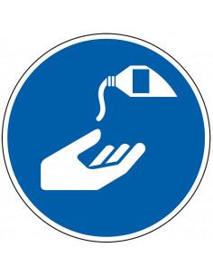 pictogram handen desinfecteren verplicht, blauw wit, rond, ISO 7010, M022