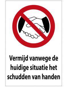 Handen schudden vermijden tekststicker, rechthoek, rood wit zwart, Nederlandse tekst