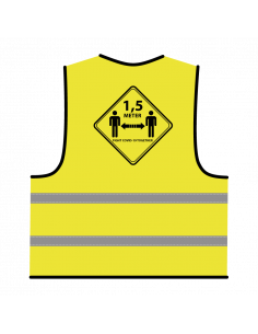Veiligheidshesje 1,5 meter afstand houden geel