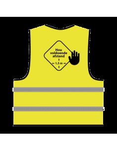 Veiligheidshesje 'hou voldoende afstand' geel