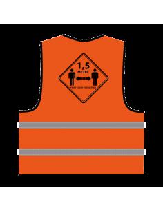 Veiligheidshesje 1,5 meter afstand houden oranje