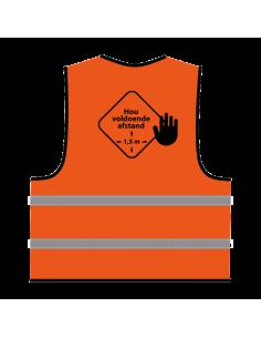Veiligheidshesje 'hou voldoende afstand' oranje