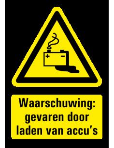 Waarschuwing voor gevaren door laden accu's sticker met tekst, lekkende batterij symbool, W026, rechthoek, geel zwart wit