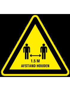 Waarschuwingsbord houd 1,5 meter afstand, kunststof, driehoek, geel zwart