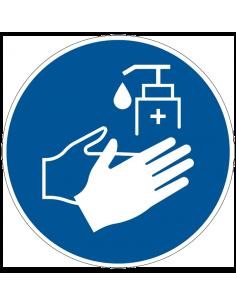 pictogram desinfecterende zeep verplicht, blauw wit, rond