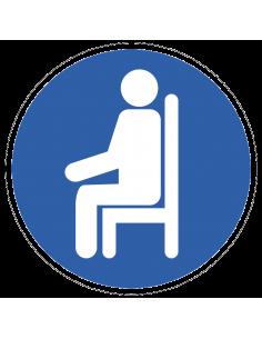 pictogram zitplaats, blauw wit, rond