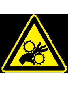 Waarschuwingssticker handbeklemming tandwielen, hand tussen tandwiel in, geel zwart, driehoek
