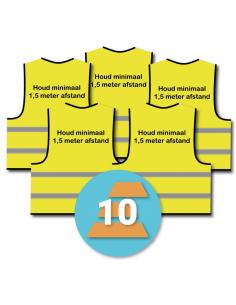 10-pack veiligheidshesje 'Houd minimaal 1,5 meter afstand!' geel