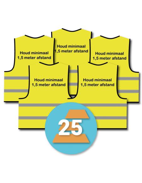 25-pack 'Houd minimaal 1,5 meter afstand' hesje geel