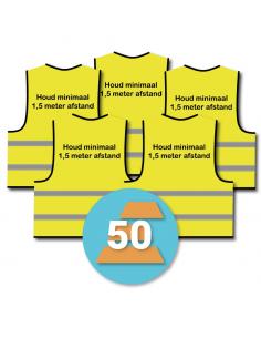 Veiligheidshesje 'houd minimaal 1,5 meter afstand' geel