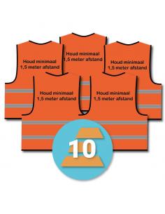 10-pack veiligheidshesje 'Houd minimaal 1,5 meter afstand!' oranje