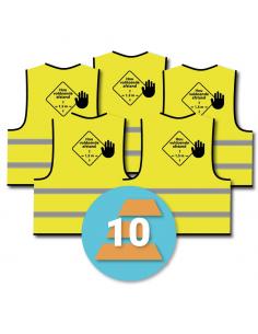 10-pack veiligheidshesje 'hou voldoende afstand', geel