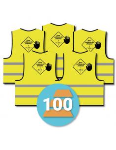 100-pack veiligheidshesje 'hou voldoende afstand', geel