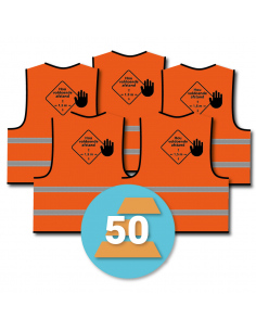 50-pack veiligheidshesje 'hou voldoende afstand', oranje