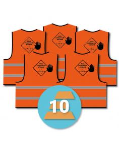 10-pack veiligheidshesje 'hou voldoende afstand', oranje