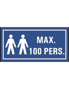 Gebodsbord 'Maximaal 100 personen' 200 x 100 mm