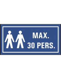 Maximaal 30 personen tekststicker, blauw wit, rechthoek, twee personen symbool met tekst