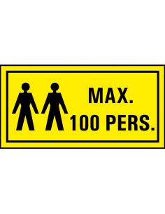 Sticker 'Waarschuwing, max. 100 personen' 150 x 75 mm