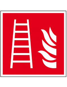 Brandladder sticker, ISO 7010, F003, rood wit, pictogram brandladder, vierkant