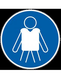 pictogram reddingsvest verplicht, blauw wit, rond, ISO 7010, M053