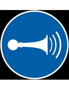 pictogram akoestisch geluidssignaal, blauw wit, rond, ISO 7010, M029