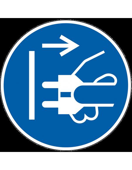 pictogram stekker uit stopcontact trekken, blauw wit, rond, ISO 7010, M006