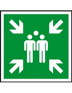 Verzamelplaats sticker, ISO 7010, E007, groen wit, pictogram verzamelplaats, vierkant
