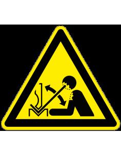 Waarschuwingssticker snel bewegend werkstuk, W032, geel zwart, ISO 7010, snel bewegend werkstuk symbool, driehoek