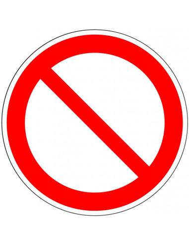 Algemene verbodssticker, ISO 7010, P001, rood wit, afbeelding schuine rode streep, rond