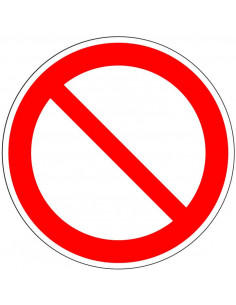 Algemeen verbodsbord, kunststof, P001, rood wit, afbeelding schuine rode streep, rond, ISO 7010