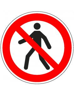 pictogram verboden voor voetgangers, rood wit, rond, ISO 7010, P004